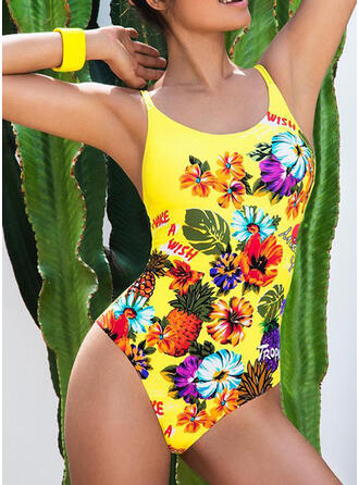 Floral Print Strap Bohemian One-piece Swimsuits
