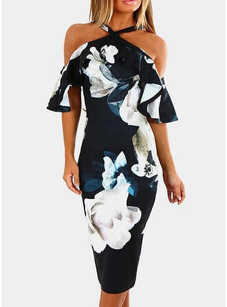 Print/Floral Sleeveless Bodycon Knee Length Sexy/Party Dresses
