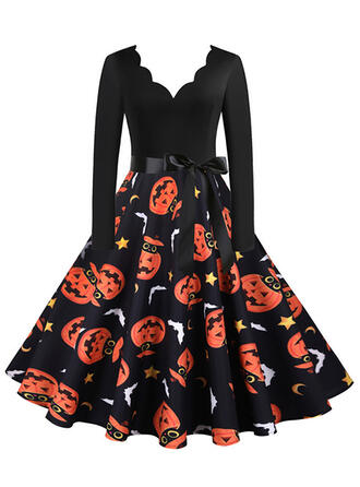 Print Long Sleeves A-line Knee Length Party/Halloween Skater Dresses