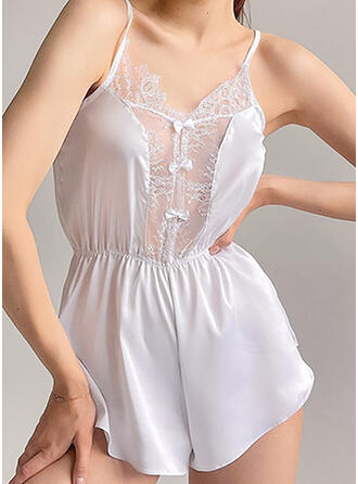 Polyester Spandex Lace Plain Patchwork Solid Romper