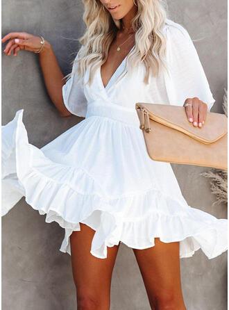 Solid 1/2 Sleeves A-line Above Knee Little Black/Casual/Elegant Dresses