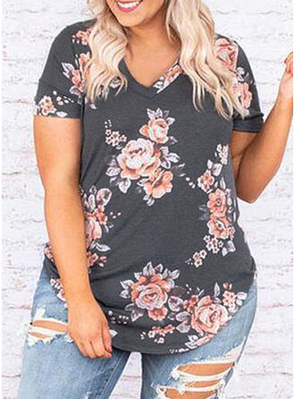 Floral Print V-Neck Short Sleeves Casual Plus Size T-Shirts