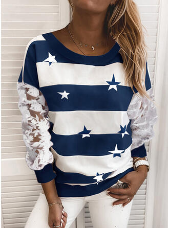 Print Color Block Lace Round Neck Long Sleeves Sweatshirt