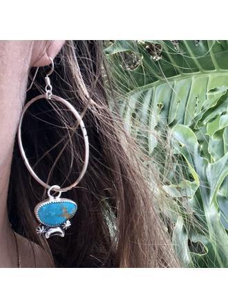 Exotic Vintage Boho Alloy Turquoise Women's Earrings 2 PCS