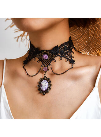 Halloween Gothic Alloy Resin Crystal Lace Necklaces