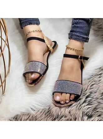 Women's PU Flat Heel Sandals Flats Peep Toe With Rhinestone Buckle Hollow-out shoes
