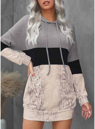 Color Block Long Sleeves Dropped Shoulder Shift Above Knee Casual Dresses