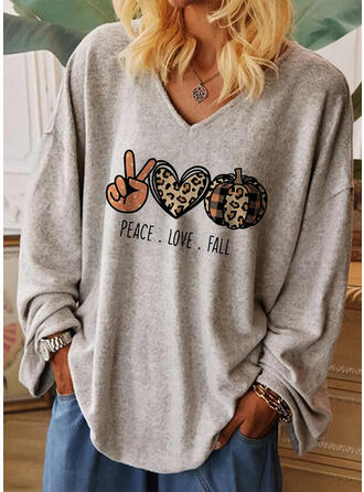 Print Leopard V-Neck Long Sleeves Casual Halloween T-shirts