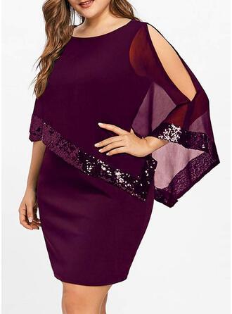 Sequins/Solid 3/4 Sleeves/Cold Shoulder Sleeve Bodycon Above Knee Little Black/Party/Elegant Dresses