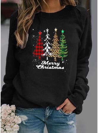 Print Grid Leopard Figure Round Neck Long Sleeves Christmas Sweatshirt