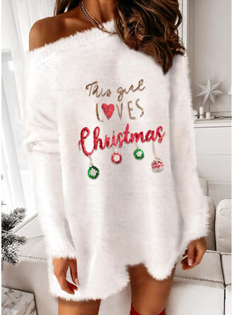 Christmas Print Heart Letter One Shoulder Party Sweater Dress