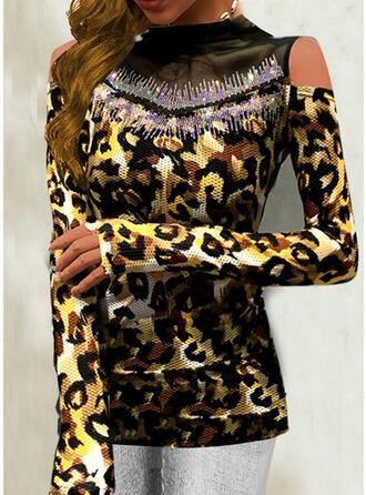 Leopard Velvet Cold Shoulder Long Sleeves T-shirts