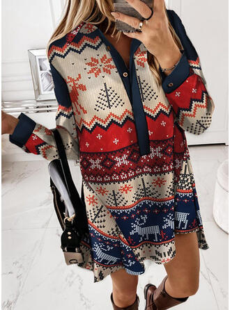 Christmas Print/Animal Long Sleeves Dropped Shoulder Shift Above Knee Party Tunic Dresses