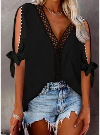 Solid Lace Beaded Cold Shoulder 1/2 Sleeves Elegant Blouses