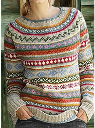 Print Chunky knit Round Neck Casual Christmas Sweaters