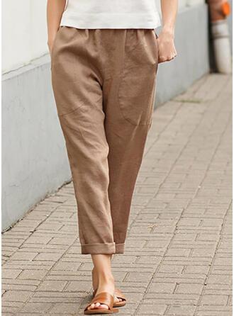 Solid Pockets Plus Size Casual Plain Pants