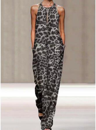 Leopard Round Neck Sleeveless Casual Vintage Jumpsuit