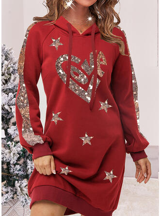 Christmas Heart Sequins Long Sleeves Hourglass Above Knee Casual Dresses