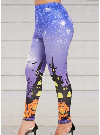 Print Plus Size Halloween Cropped Sexy Sporty Yoga Leggings