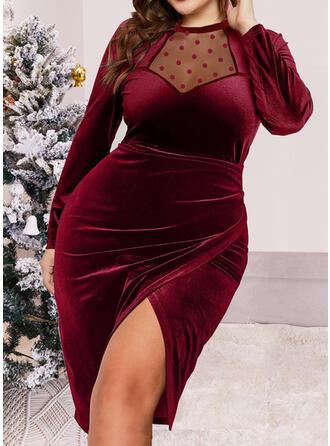 Christmas Solid Velvet Long Sleeves Bodycon Knee Length Party/Elegant Dresses