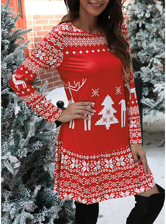 Print/Animal Print Long Sleeves Shift Above Knee Christmas/Casual Tunic Dresses