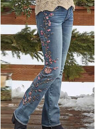 Jacquard Embroidery Plus Size Long Elegant Sexy Skinny Denim & Jeans