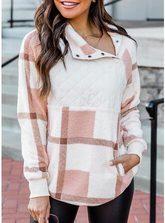 Plaid Asymmetrical Long Sleeves Sweatshirt