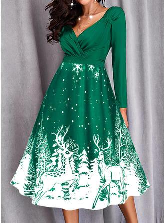Christmas Print/Animal Long Sleeves A-line Party/Elegant Midi Dresses