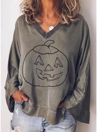 Print V-Neck Long Sleeves Casual Halloween Blouses