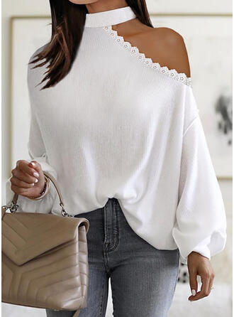 Solid Lace Knit One Shoulder Long Sleeves Dropped Shoulder Elegant Blouses