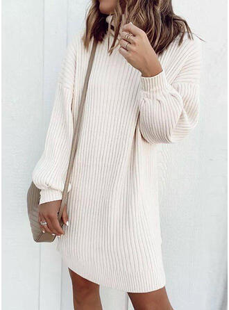 Solid High Neck Casual Sweater Dress