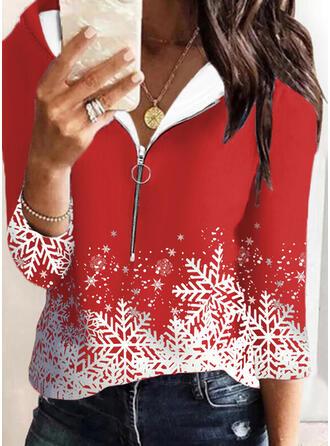 Christmas Print Long Sleeves Hoodie