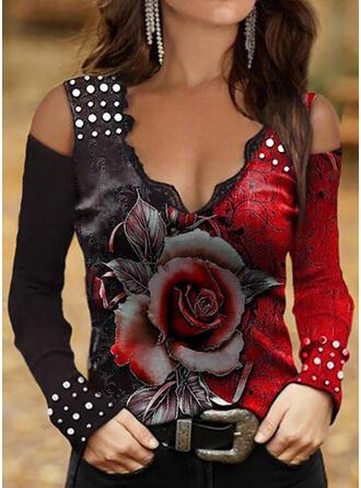 Color Block Floral Print Lace Cold Shoulder Long Sleeves T-shirts