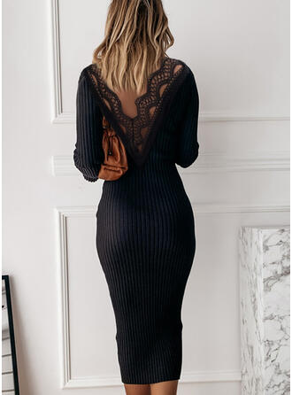 Lace/Solid Long Sleeves Bodycon Pencil Little Black/Casual/Elegant Midi Dresses