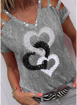Print Sequins Heart Cold Shoulder Short Sleeves Casual Blouses