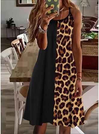 Leopard Sleeveless Shift Above Knee Casual Slip Dresses