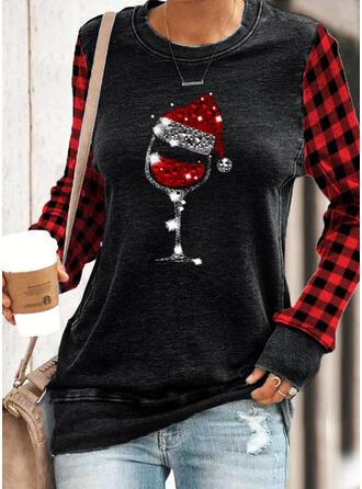Grid Sequins Round Neck Long Sleeves Christmas Sweatshirt