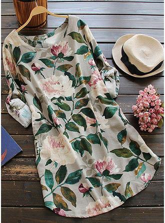 Print/Floral Long Sleeves Shift Knee Length Casual/Boho/Vacation Dresses
