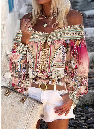 Print Floral Off the Shoulder Lantern Sleeve Long Sleeves Button Up Casual Blouses