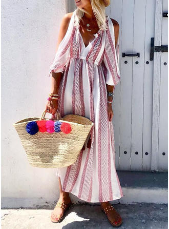 Print Cold Shoulder Sleeve A-line Casual/Vacation Maxi Dresses