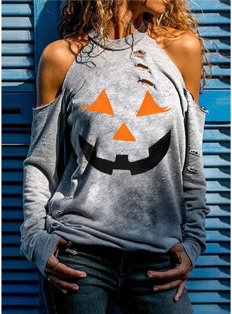 Print Cold Shoulder Long Sleeves Halloween Blouses