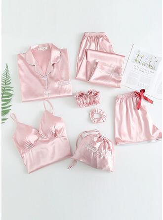 Satin Plain Floral Halter Long Sleeves Sexy V Neck Alluring Pyjama Set