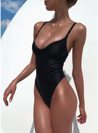 Solid Color Strap V-Neck Sexy Classic One-piece Swimsuits