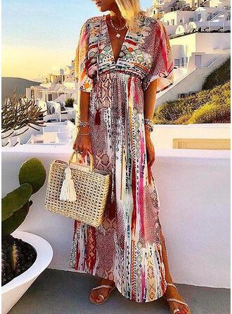 Print 1/2 Sleeves A-line Casual/Boho/Vacation Maxi Dresses