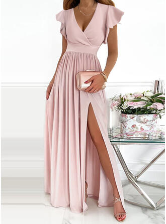 Solid Short Sleeves Small Flying Sleeve A-line Skater Party/Elegant Maxi Dresses