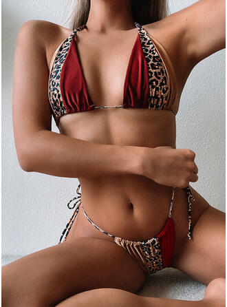 Leopard V-Neck Strapless Sexy Bohemian Classic Bikinis Swimsuits