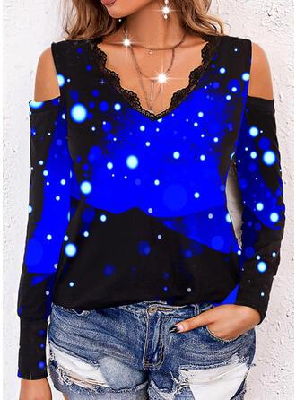 Gradient Mixed printing Lace V-Neck Long Sleeves T-shirts