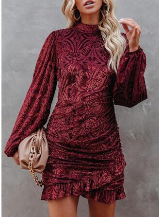 Solid Velvet Long Sleeves Lantern Sleeve Bodycon Mini Party/Elegant Dresses