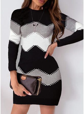 Color Block Long Sleeves Sheath Above Knee Elegant Dresses
