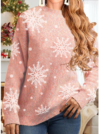 Christmas Snowflake Round Neck Casual Sweaters